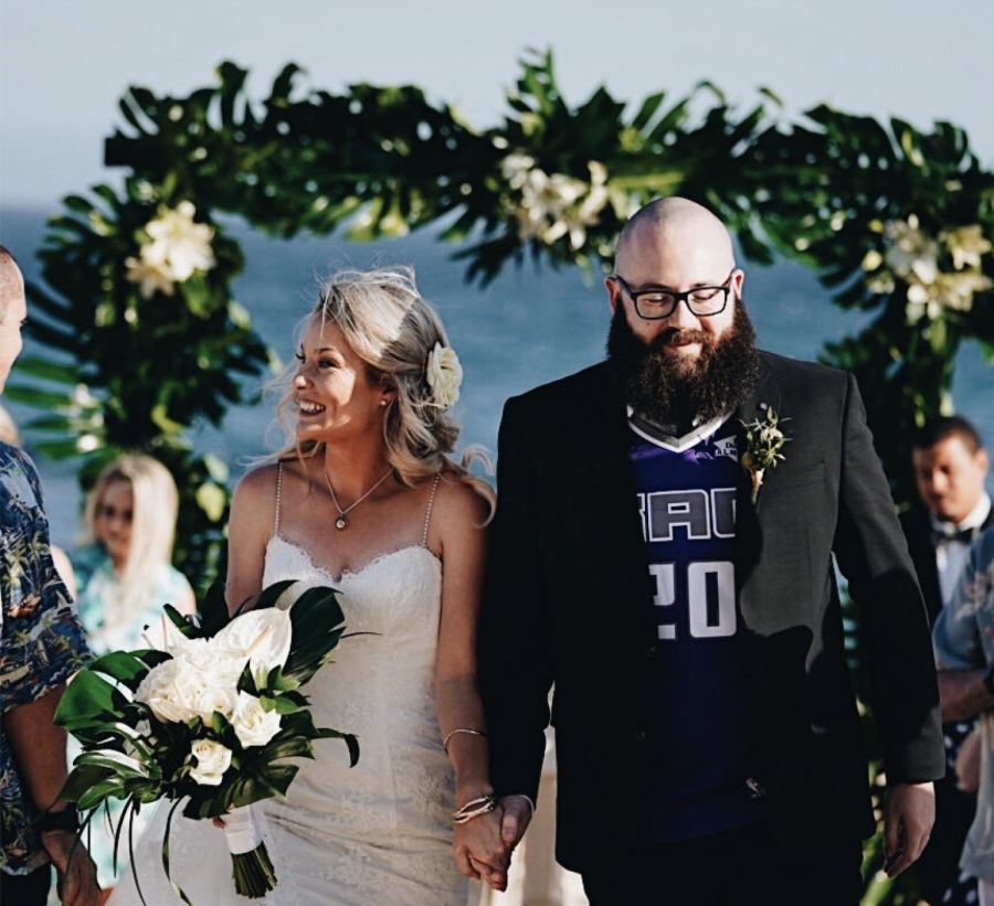 State Hornet sports features writer Richard Ivanowski and his wife Kate walk down the aisle at their wedding on Saturday, June 15 in Cabo San Lucas, Mexico.