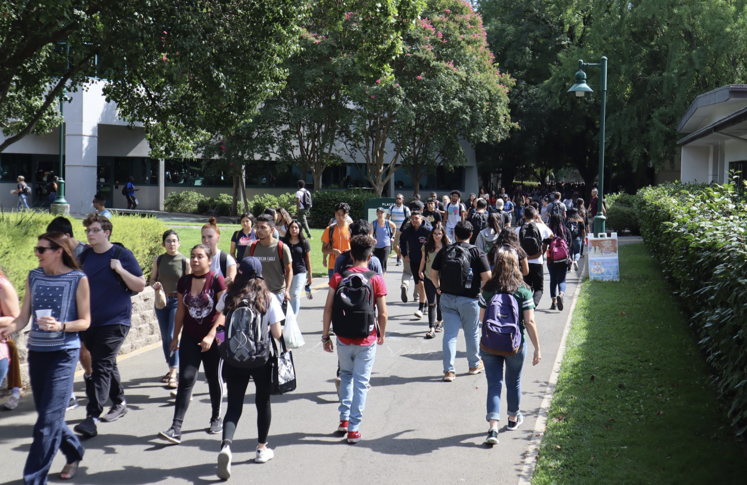 Sac State students crowd the walkway near Placer Hall. In spring, Sac State accidentally sent invites to Admission Day to 3,500 students on the waitlist.