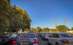 Traffic leaving Sac State. The school sold 17,278 student permits this semester and has 9,990 student spots.