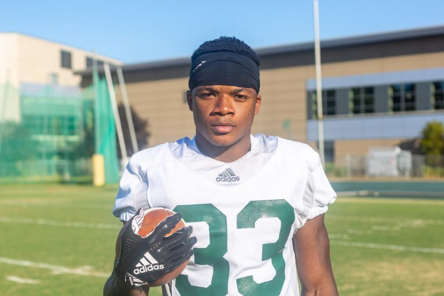 Elijah+Dotson%2C+Sac+State+junior+running+back%2C+poses+for+a+photo+after+practice+on+Wednesday%2C+Sept.+4%2C+at+the+practice+field.+Dotson+was+named+to+the+All-Big+Sky+first+team+in+2018%2C+becoming+the+first+Hornet+RB+to+do+so+since+2000.