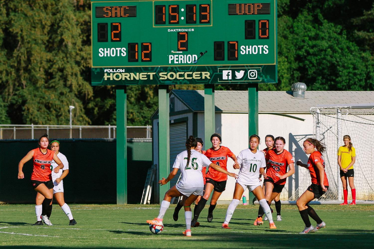 Sac State junior forwards Ariana Nino (#26) prepares to pass to teammate Tiffany Miras against Pacific on Thursday, Sept. 5 at Hornet Field. Nino scored one goal to help lead the Hornets to the 2-0 win.