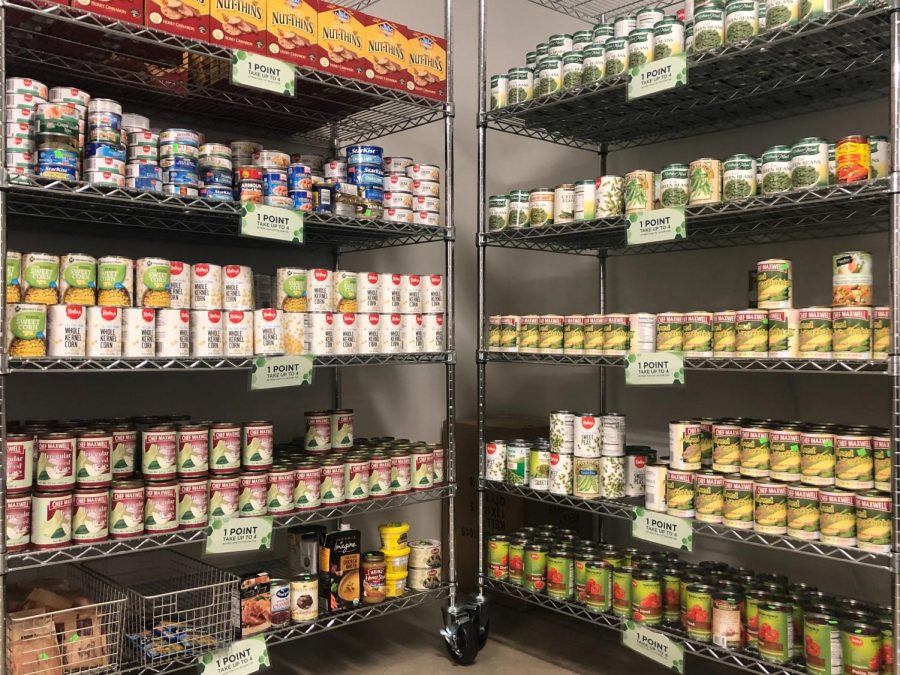 Canned goods at the ASI Food Pantry in the University Union. The ASI Food Pantry moved to the Union last semester.