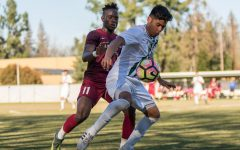 Former Sac State defender Abraham Rosales shields the ball away from former Sac Republic FC forward Gabe Gissie during a friendly match at Hornet Field on Wednesday, March 1, 2017. It was recently announced that MLS may be coming to Sacramento very soon.