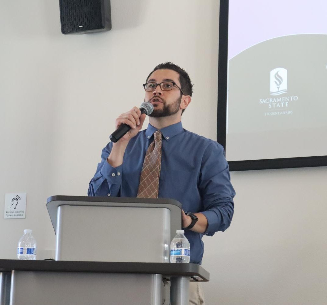 Erik Ramirez, program coordinator of the Dreamers Resource Center, speaks to guests Friday, Sept. 6 during the DRC open house. Ramirez is a DACA recipient that graduated in May 2019 and became the full-time coordinator for the Dreamers' Resource Center.
