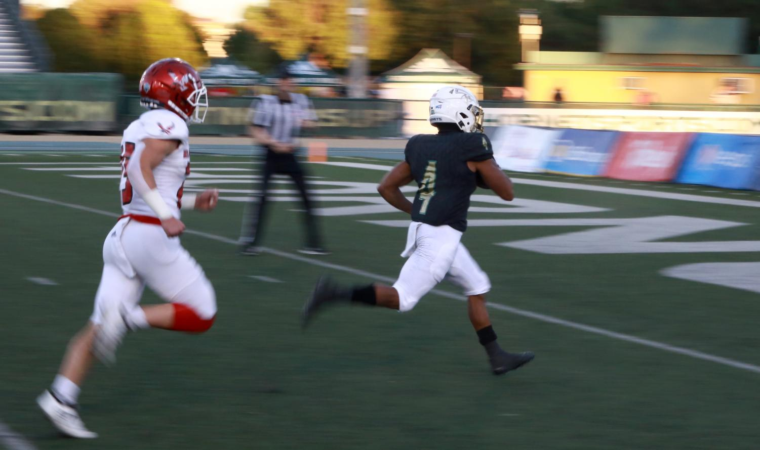 Sac State junior wide receiver Isiah Gable scores a 41 yard touchdown against Eastern Washington Saturday, Oct. 5 at Hornet Field. The Hornets defeated the Eagles 48-27.