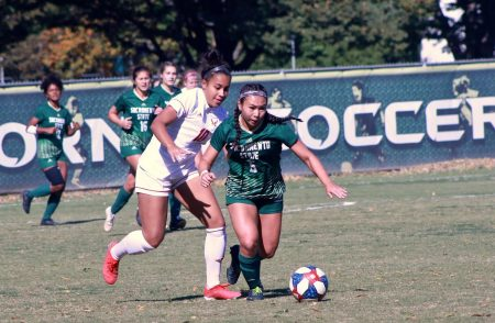 Sacramento State junior forward Kylee Kim-Bustillos outruns Eastern Washington sophomore defender Marissa Mills against the Eagles Sunday, Oct. 27 at Hornet Field. The Hornets defeated the Eagles 1-0.