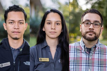 From left to right, in this photo illustration are DACA recipients Israel Flores, Denisse Garcia and Erik Ramirez. The California State University recently granted funds for schools in their system to offer legal services to DACA recipients.