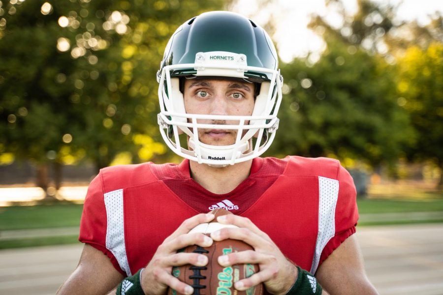 Sac State junior quarterback Kevin Thomson poses for a photo Wednesday, Sept. 25 at Sac State. Through four games this season, Thomson has completed 95 of 153 passes for 1,160 yards, 13 touchdowns and two interceptions