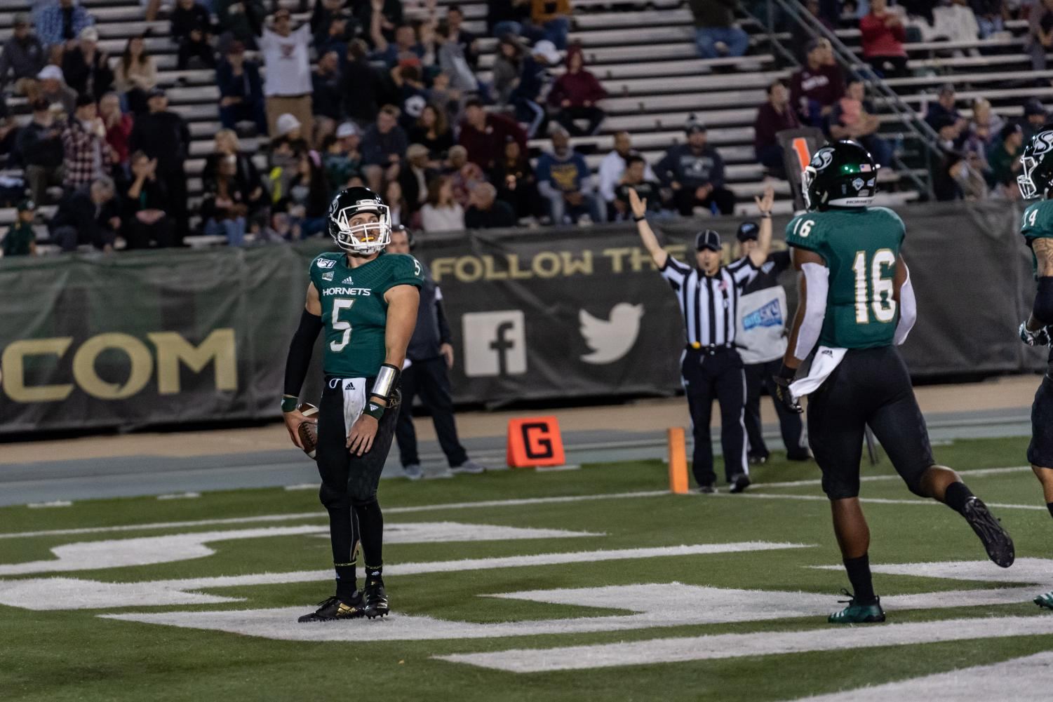 Sac State junior quarterback Kevin Thomson celebrates as he scores a touchdown against Montana Saturday, Oct.19 at Hornet Field. Thomson finished the game with a total of 2 rushing touchdowns in the win.