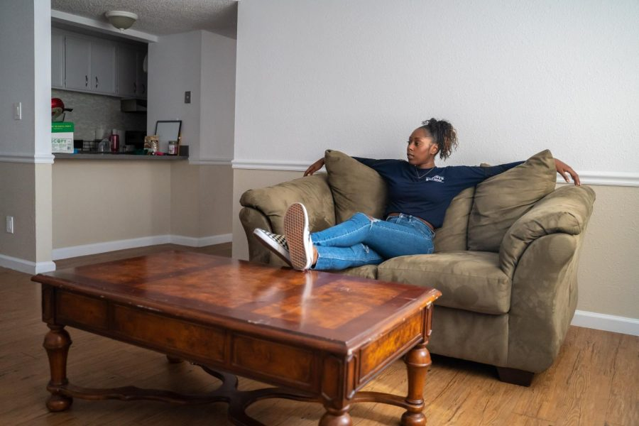 Sac State junior Jayda Preyer photographed inside her apartment Thursday, Oct. 17. Preyer secured affordable housing for her and a roommate after staying in the on-campus emergency housing facility.