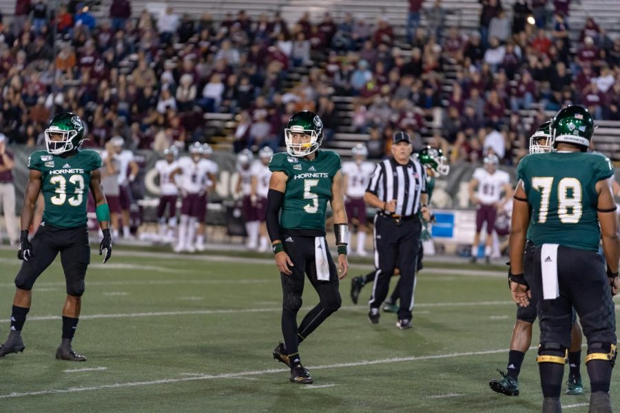 Sacramento State junior quarterback Kevin Thomson and junior running back Elijah Dotson look towards the sideline against Montana Oct. 19 at Hornet Field. The Hornets defeated Cal Poly 38-14 Saturday night.