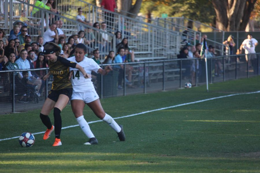Sacramento State sophomore forward Erika Sosa fights for possession against the University Idaho Friday, Oct. 25 at Hornet Field. The Hornets won in double overtime over the Vandals 1-0.