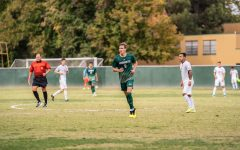 Sac State sophomore forward Benji Kikanovic runs for a play Saturday, Oct. 19 against CSU Fullerton at Hornet Field. The Sac State men's soccer team will have its fall 2020 season postponed due to the Big West Conference's announcement Wednesday that they will postpone sports competition through the end of the calendar year.