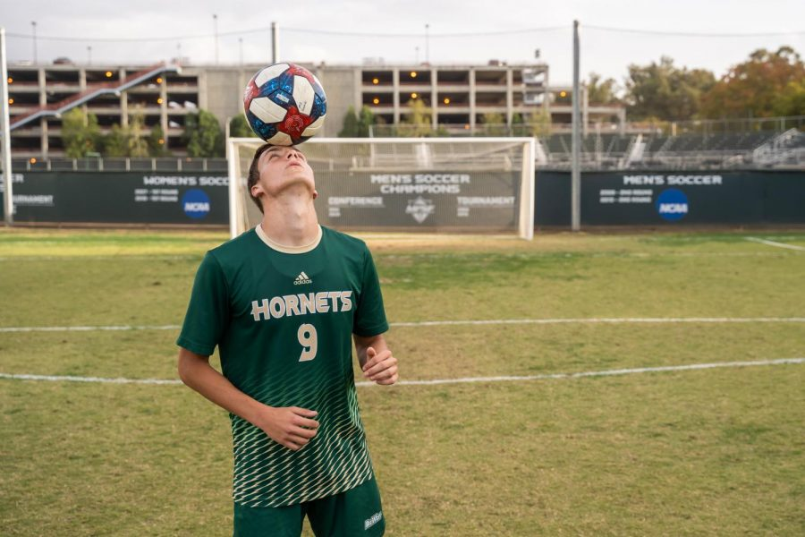 Sac State sophomore forward Benji Kikanovic balances the ball on his head Saturday, Oct. 19 at Hornet Field. Kikanovic has been playing soccer since he was five years old.