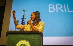 Lisa Leslie addresses the audience during her 'Brave, Bold, Brilliant' keynote address on Monday, Sept. 23. Leslie was Keynote speaker for Student Academic Success Day.