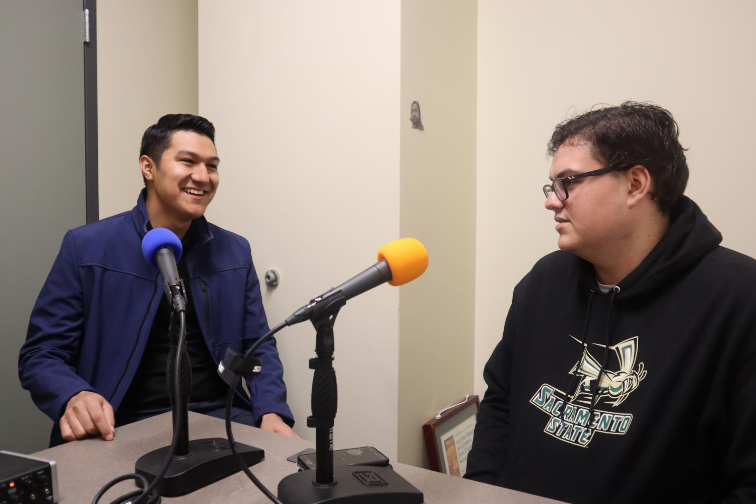 For ASI president and Public Policy & Administration major Noel Mora in the podcast booth with State Hornet Managing Editor Cory Jaynes. Mora recently testified against increasing the CSU's admissions requirements.