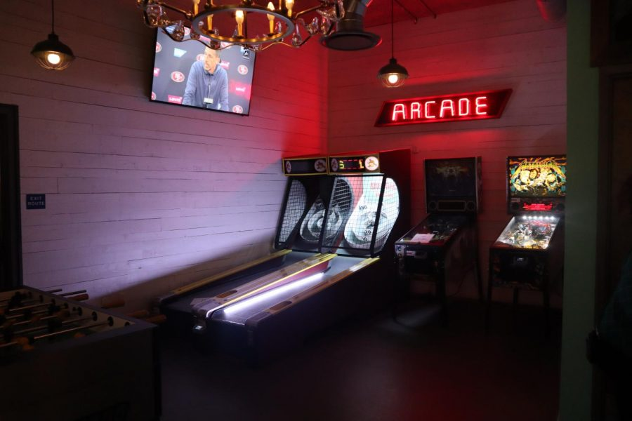 The arcade at Punch Bowl Social at Sacramento Downtown Commons. Punch Bowl Social provides multiple social activities such as karaoke and bowling.