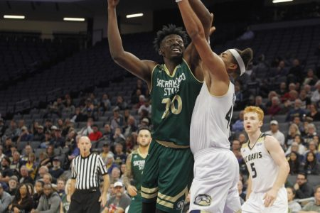 Senior center Joshua Patton goes up for a shot against UC Davis on Nov. 21, 2017. Patton averaged 13 points, 6.4 rebounds and 1.6 blocks per game as a junior.