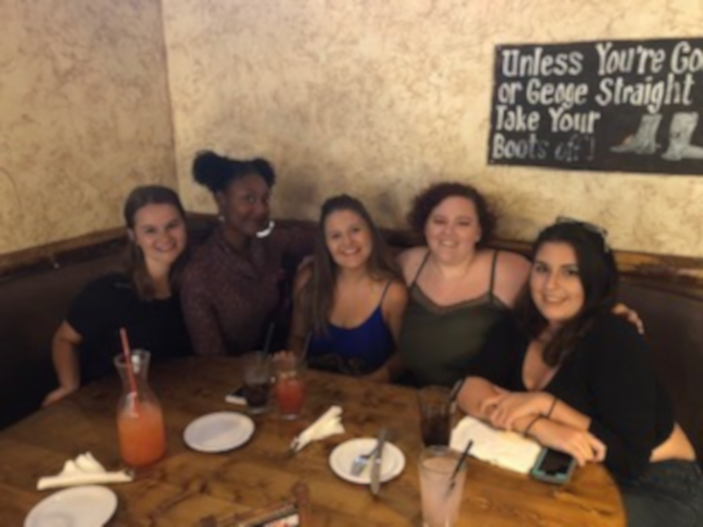 Photo courtesy of Kayla Brown: State Hornet opinion writer Kayla Brown and her friends at her going away dinner in August 2018  From left to right; Lauren, Kristen, Mercy, Kayla and Christina