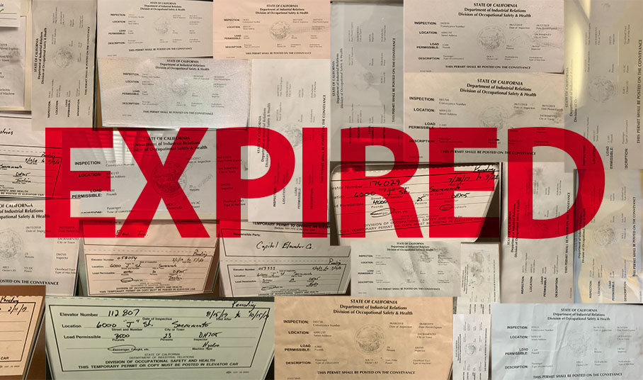 Photo Illustration. Expired permits on campus have a wide range of expiration dates, from as far back as Sept. 2017 to as recent as Oct. 15 2019. In total, The State Hornet found thirty expired permits posted in campus elevators.