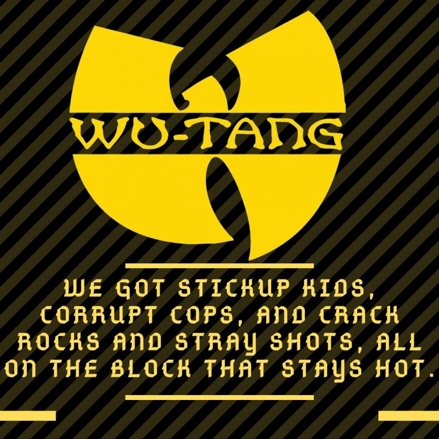 Graphics of lyrics by Corey Woods, aka Raekwon, from Wu-Tang Clan's song