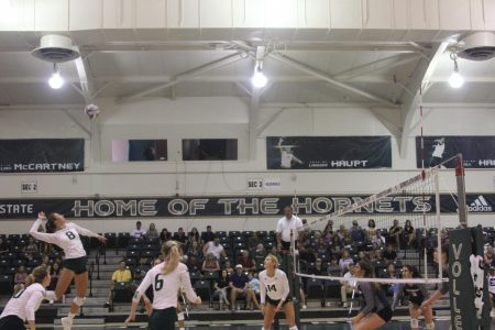 Sac State senior outside hitter Sarah Davis prepares to serve against Nevada Saturday Aug. 31 at the Nest. The Hornets return home from a season-long road trip Thursday against Southern Utah.