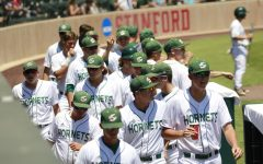 The Sacramento State baseball team celebrate a scored run against Stanford University Sunday, June 3 at Sunken Diamond. Gov. Gavin Newsom signed Senate Bill 206 into law Monday, allowing for athletes on the baseball and all other teams to potentially monetize their likenesses.