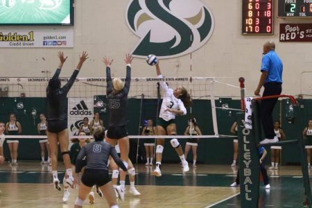 Sac State junior outside hitter Macey Hayden spikes the ball against Portland State Tuesday, Oct. 15 at The Nest. Hayden scored 9 kills against Portland State during the match.