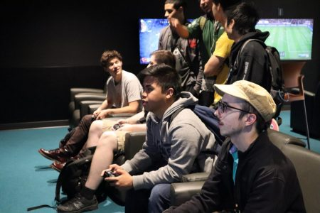 Marc Alfonso and Gabriel Ionica, members of the Stinger Esports team, play a video game Tuesday, Oct. 15 at the University Union Game Room. The club currently has over 400 members according to Director Donna Walters.
