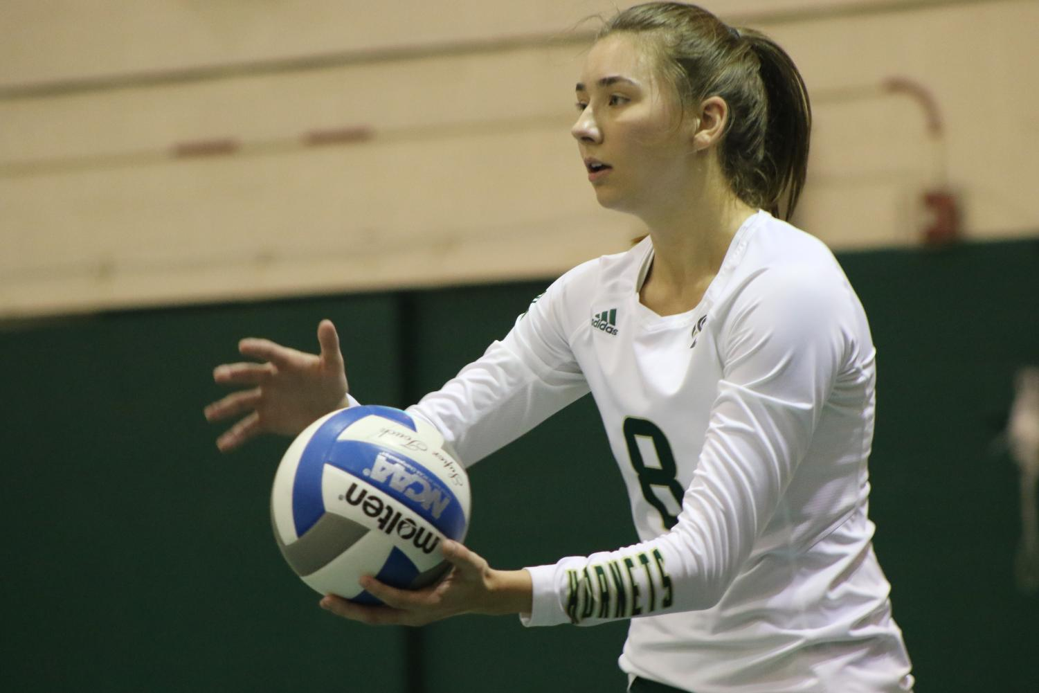 Sac State senior outside hitter Sarah Davis prepares to serve the ball against Northern Colorado Thursday, Oct. 17 at The Nest. Davis had a game-high 20 kills in the loss to the Bears.