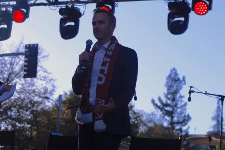 Sacramento Republic FC President and Chief Operating Officer, Ben Gumpert, speaks in front of a crowd during the Indomitable Block Party Mon. Oct. 21. Sacramento Republic FC held the party to celebrate joining Major League Soccer.