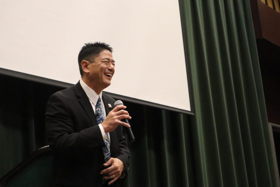 Taking the stage, Mitchell Maki addresses the crowd after being introduced by Sac State assistant sociology professor Susan Nakaoka Thursday. Maki was Susan Nakaoka's professor and acted as advisor to her master's thesis, which studied female second-generation Japanese American activists.