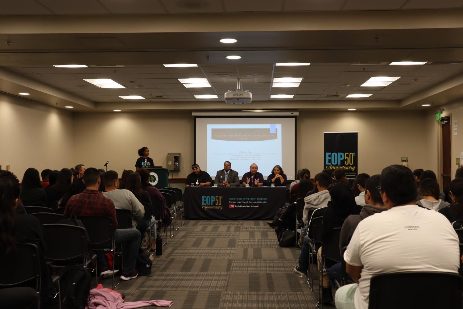 Sac State Alumni tell current students about their experiences at EOP's Open Mic Event Monday. The event was part of the celebration of the program's 50th anniversary.