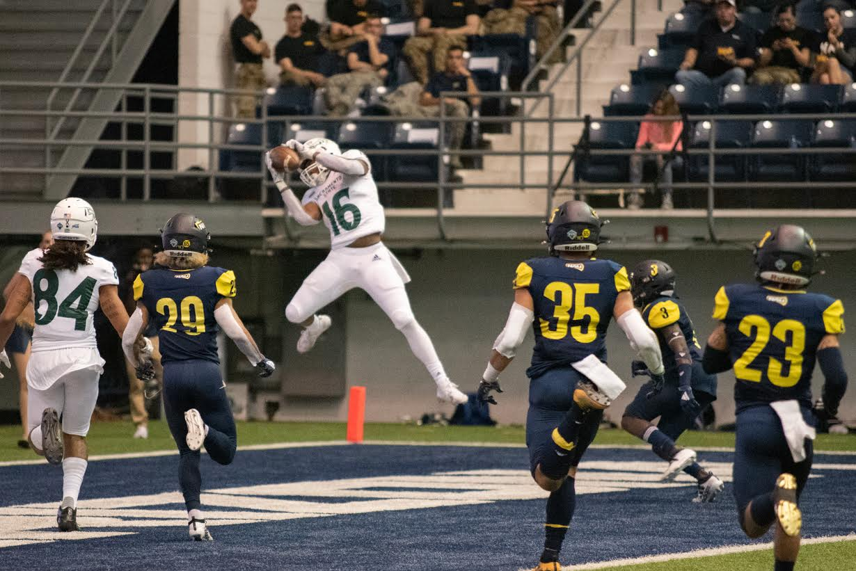 Sac State freshman tight end Marshel Martin catches a touchdown pass against Northern Arizona on Saturday, Nov. 9 at the Walkup Skydome in Flagstaff, Arizona. Martin had four receptions for 92 yards and two touchdowns in the 38-34 win over the Lumberjacks on Saturday.