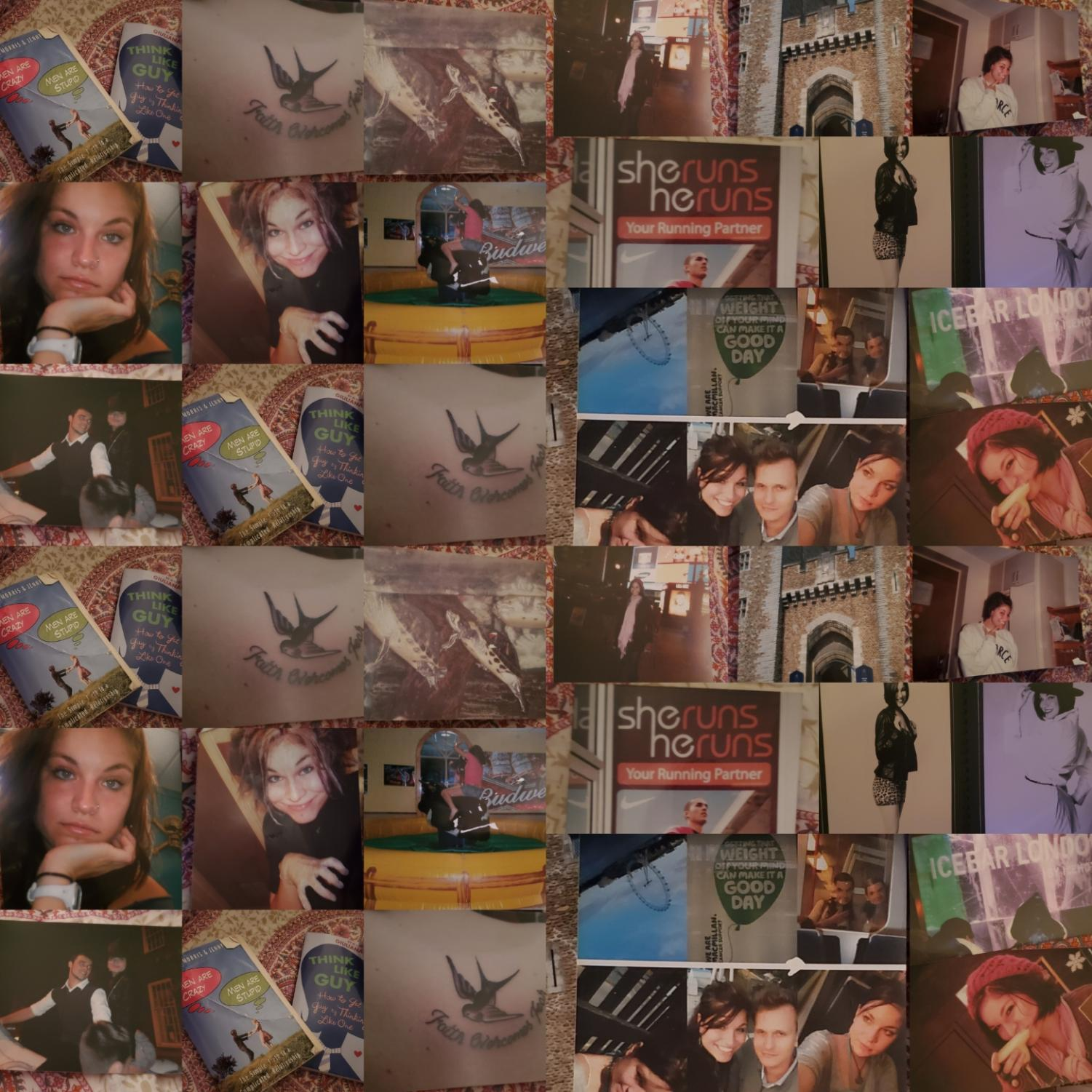 A collage of photos courtesy of Ashton Byers when she was first stationed in the Air Force in England. The photos show the ups and downs of my life and the choices I made following a bad breakup. Photos courtesy of Ashton Byers