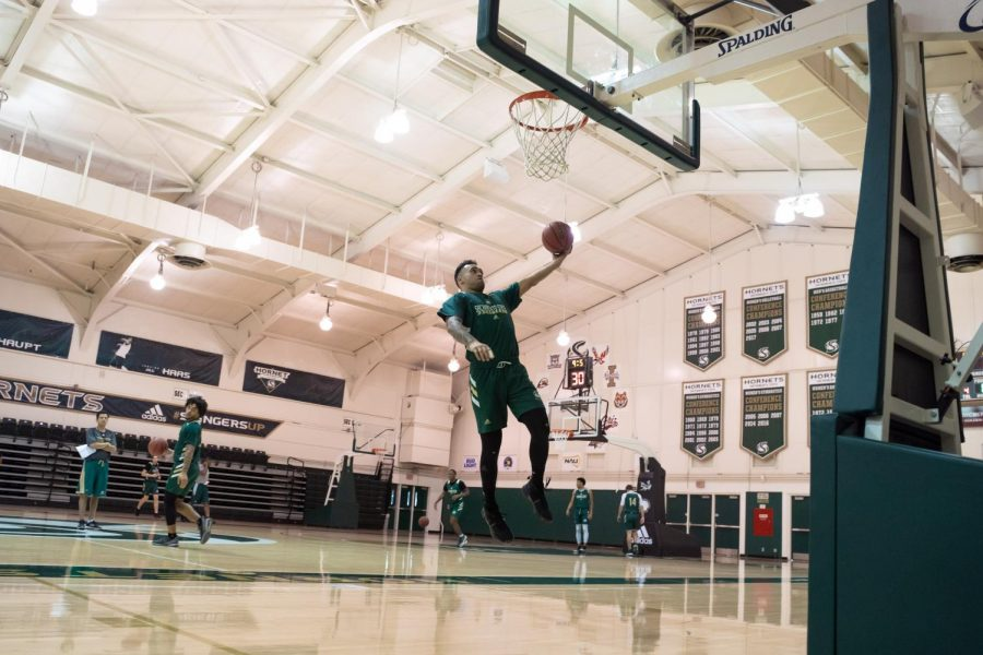 Sac State senior guard Izayah Mauriohooho-Le'afa goes in for a layup during practice Monday, Nov. 4 at The Nest. Mauriohooho-Le'afa was a finalist for Big Sky Defensive Player of the Year in the 2018-19 season.