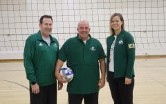 Volleyball coaches Ed Jackson, Ruben Volta and Sarah Chlebana pose for a photo before practice Wednesday, Oct. 23 at Yosemite Hall. Jackson, Volta and Chlebana were all student athletes at Sac State, earning national and conference championships.