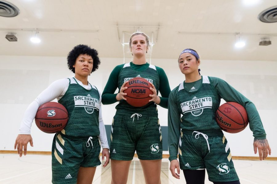 From left, Sacramento State women's basketball seniors, guard Camariah King, forward Kennedy Nicholas and guard Gabi Bade pose for a photo Thursday, Oct. 31 at Yosemite Hall. The Hornets ended the 2018-19 season with a record of 10-19 and a six-game losing streak.