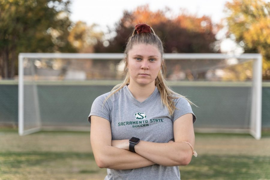 Sac+State+women%27s+soccer+junior+midfielder+Skylar+Littlefield+poses+for+a+photo+at+Hornet+Field.+Littlefield+suffered+a+concussion+after+being+hit+in+the+head+by+a+soccer+ball+during+a+match+in+the+2019+season.
