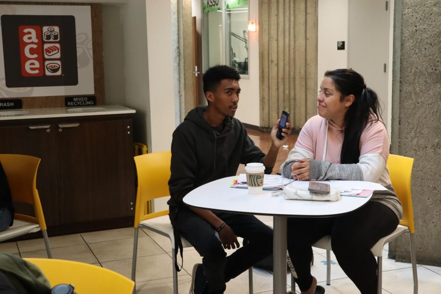 Freshman Nebaiot Lemma interviews biology major Gaby Goldring for his YouTube channel Friday, Oct 25. Lemmas videos highlighting Sac State have gained popularity both on YouTube and on TikTok.