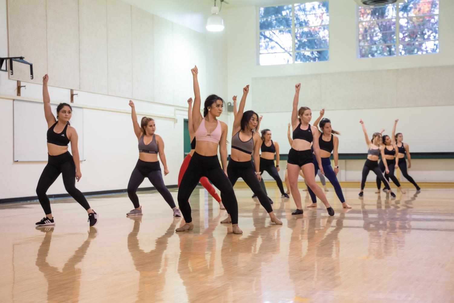 The Sac State Dance Team practicing a dance routine at  Yosemite Hall on Friday, Nov. 15. To prepare for their performances, the dancers practice for three hours every Tuesday and Friday to perform throughout the semester.