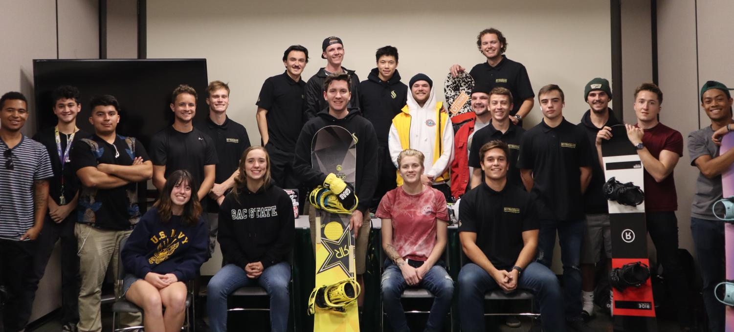 Members of the Sac State ski and snowboard team pose for a photo at the weekly Thursday meeting. The team participates in both alpine and slope/freestyle events.