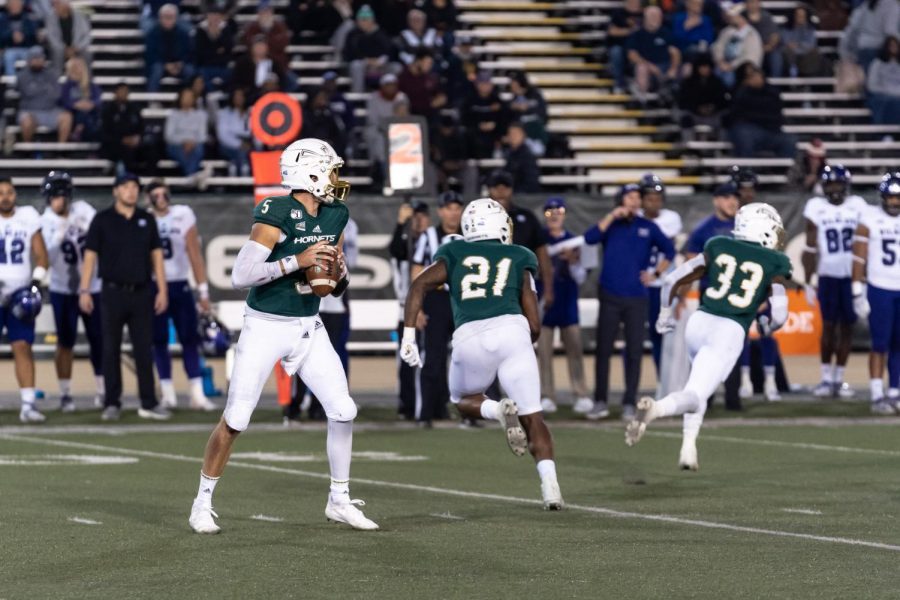 Sac+State+junior+quarterback+Kevin+Thomson+prepares+to+throw+against+Weber+State+on+Saturday%2C+Nov.+2%2C+at+Hornet+Stadium.+Thomson+had+a+total+of+144+passing+yards+before+leaving+the+game+in+the+second+quarter+due+to+an+injury.