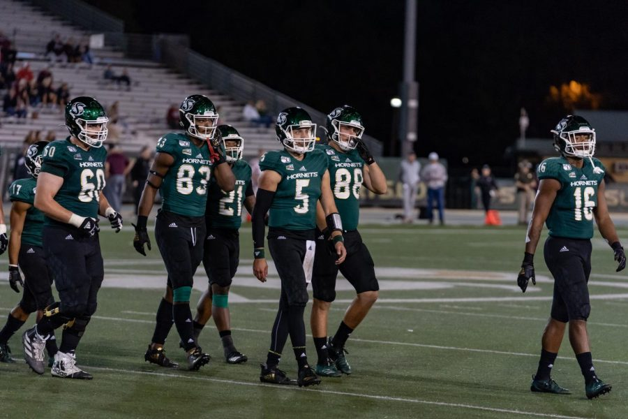 Members of the Sac State football team walk off the field against Montana Saturday, Oct. 19 at Hornet Stadium. The Hornet Athletics department is the organization in the Big Sky that receives the largest amount of it's funding from its school's general fund.