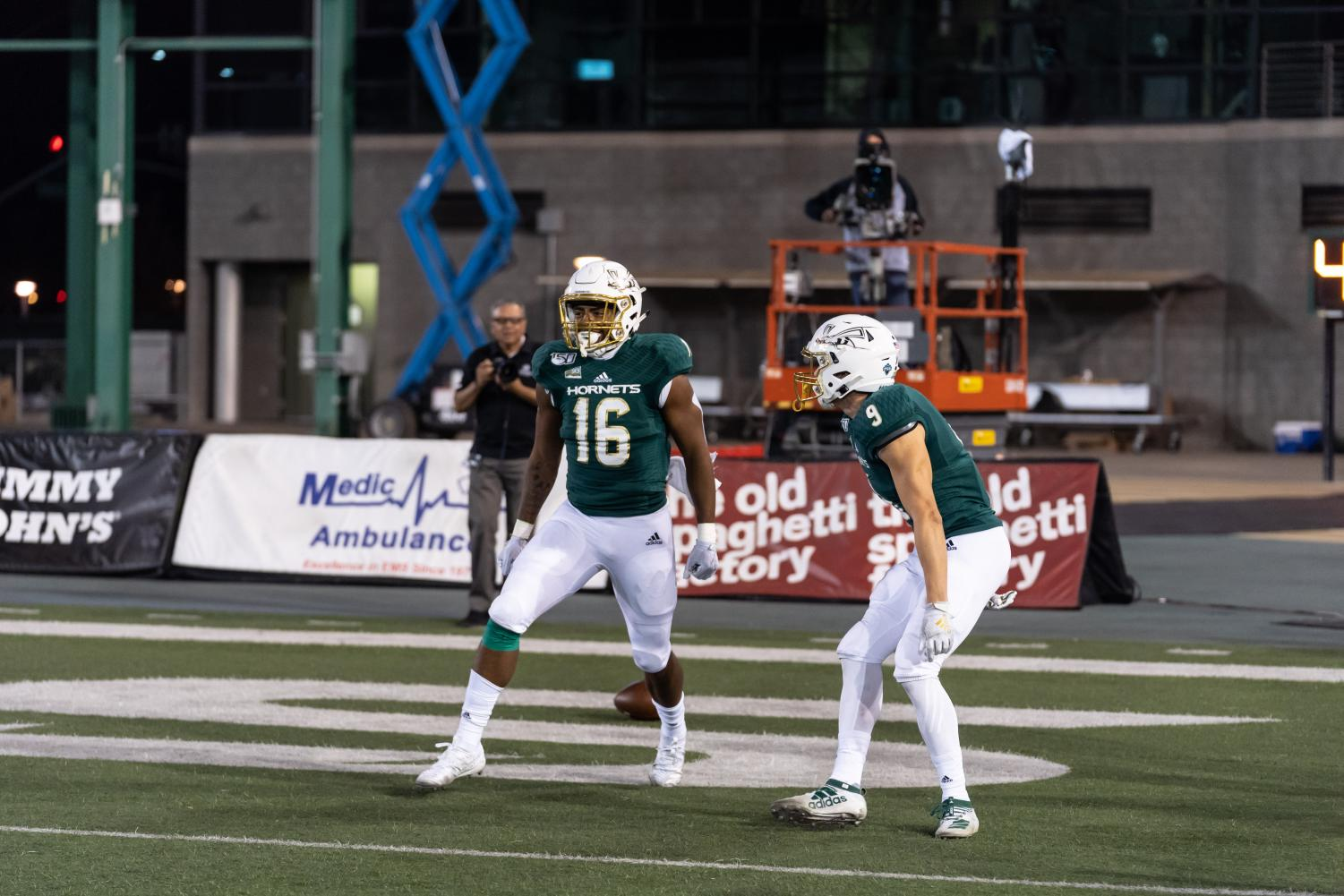 Sac State freshman tight end Marshel Martin (left) celebrates a touchdown with freshman wide receiver Parker Clayton against No. 3 Weber State on Nov. 2 at Hornet Stadium. The Hornets play at Idaho this Saturday in their final road game of the regular season.