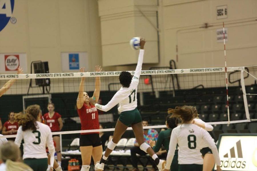 Sac State freshman middle blocker Tiyanane Kamba-Griffin spikes the ball against Eastern Washington at The Nest during Saturday's game. Kamba-Griffin scored a total of 5 kills, the third highest for her team on the day.