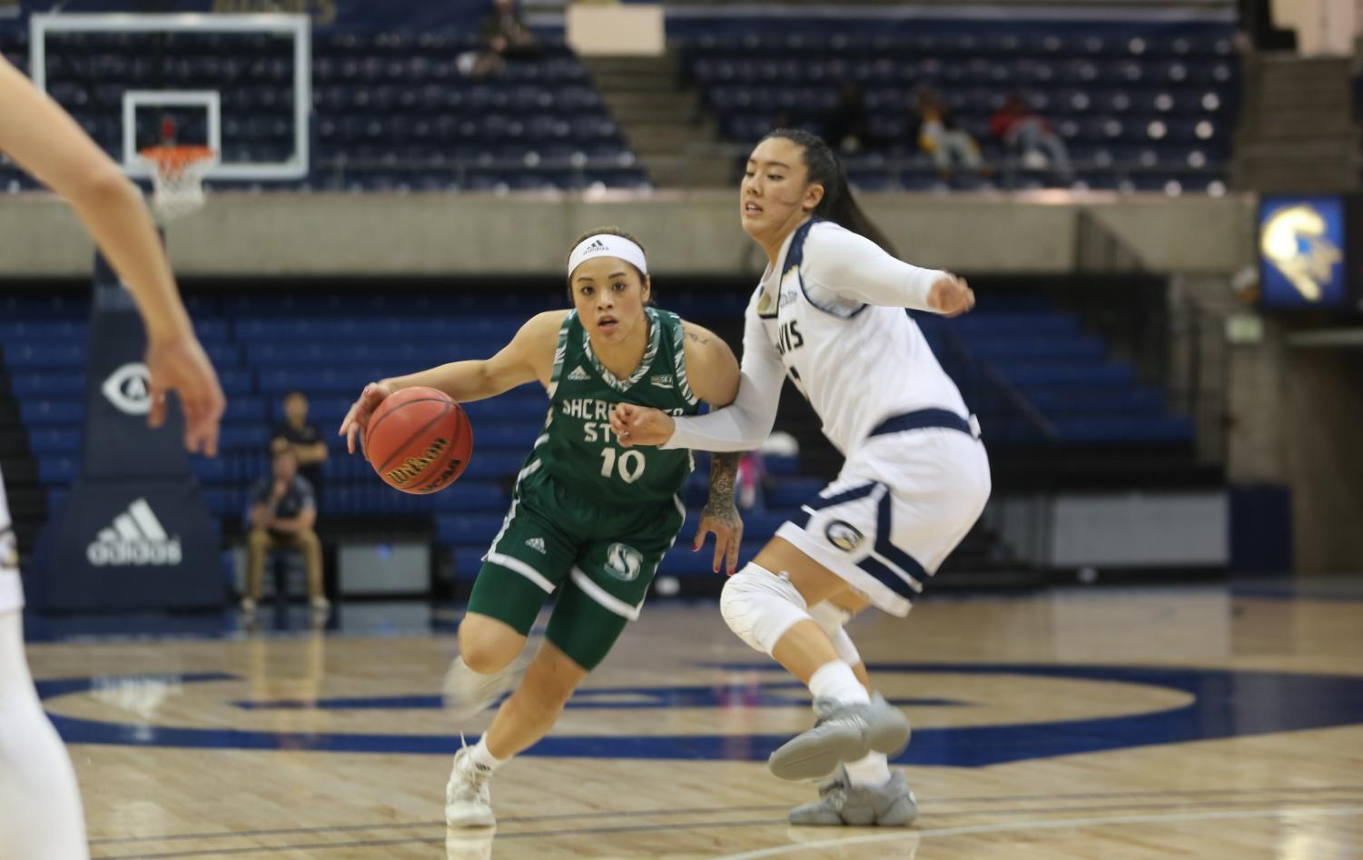 Sac State senior guard Gabi Bade drives to the basket against UC Davis on Tuesday, Nov. 26 at The Pavilion. The Hornets lost to the Aggies 77-75 in double-overtime.