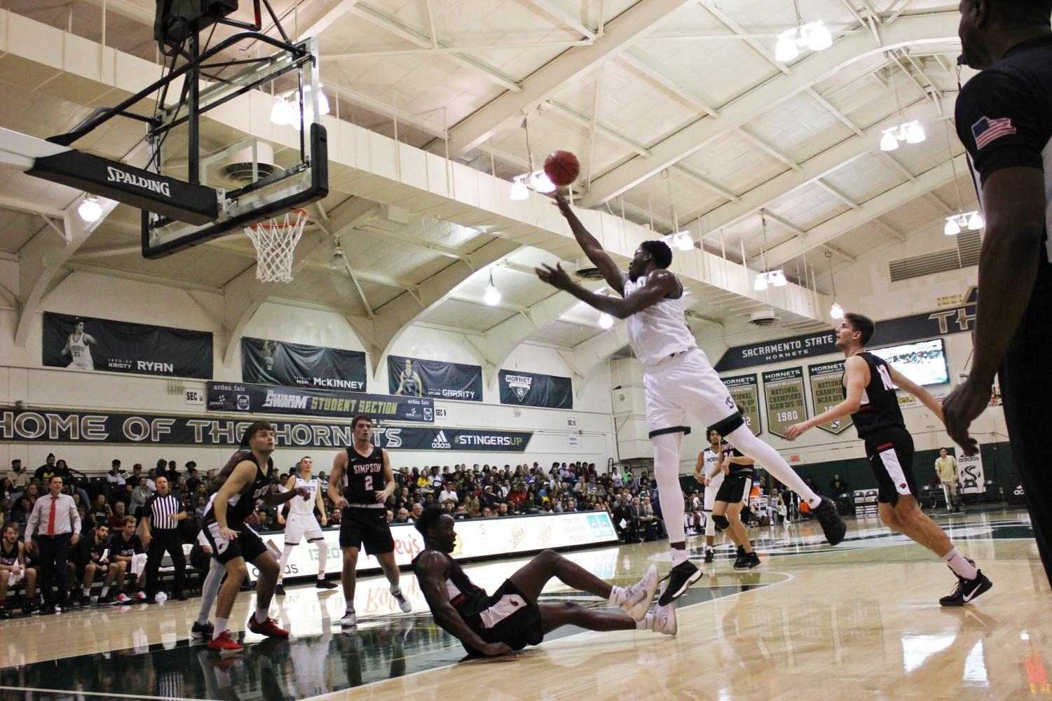 Sac State senior center Joshua Patton shoots the ball against Simpson on Friday, Nov. 8, at The Nest. Patton had a game-high 20 points on 9-11 from the field.
