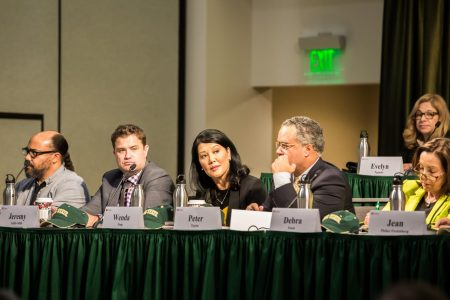 The California State University Board of Trustees Special Committee to Consider the Selection of the Chancellor speaks in the University Ballroom at Sac State on Tuesday, Nov. 12. The committee will tour a total of six campuses to listen to what students and faculty want in the next CSU chancellor.