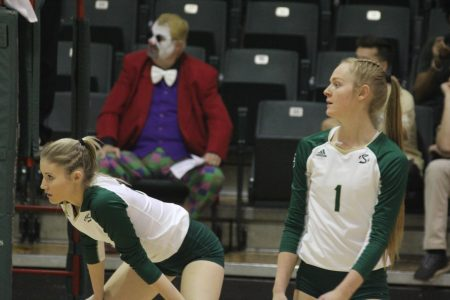Sac State freshmen Kayla Subbert and McKenna Smith prepare for their comeback on Thursday, Oct. 31, against Idaho at The Nest. The Hornets took set five 15-11.